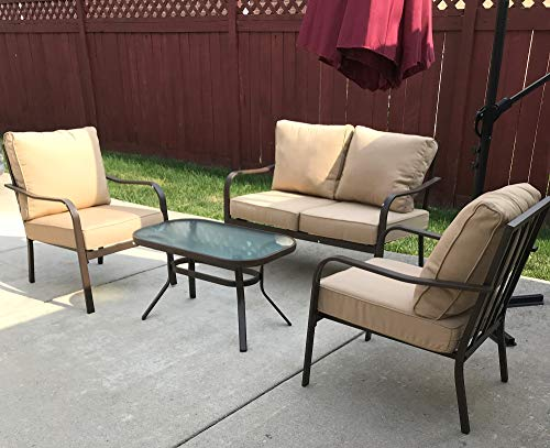 Kozyard Sonrisa Patio 4 PCs Padded Conversation Sets with Coffee Table, Beige - Curved arms and an extra wide seat with padded cushion provide a high quality user experience. The unique back cast pattern not only makes the seating sturdier, but also creates an elegant look. A great complement to your patio or other outdoor space. Set Includes: Cushioned loveseat, two iron single chairs with cushions and a powder-coated coffee table Perfect for your patio, backyard, garden and balcony. Eating, gaming or sun bath, fit for your want. - patio-furniture, patio, conversation-sets - 51dDxLl7t9L -