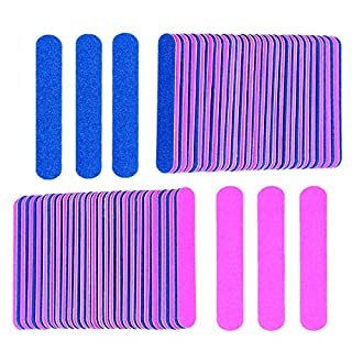 KISEER Mini Nail Files Bulk, 100 Pcs Disposable Double Sided Emery Boards Travel Size for Men, Women, Kids (Blue and Pink)