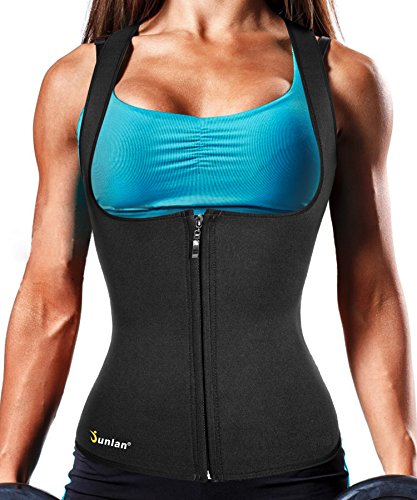 (Junlan Body Fat Burner Slim Tummy Shaper Waist Trainer Vest with Zipper for Weight Loss Women Tank Top Corset (Black, M))