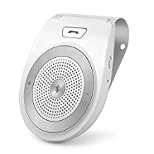 Bluetooth In-car Speakerphone, Aigital Bluetooth 4.1 Wireless Hands-Free Car Kit Sun Visor Speaker Audio Receiver Adapter Motion AUTO-ON Built-in Microphone & Car Charger, for iPhone,Sumsang and More,Connect 2 Phones Simultaneously-White