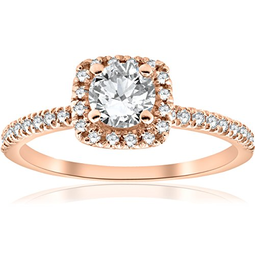 1/2CT Diamond Cushion Halo 14k Rose Gold Engagement Ring by Pompeii3