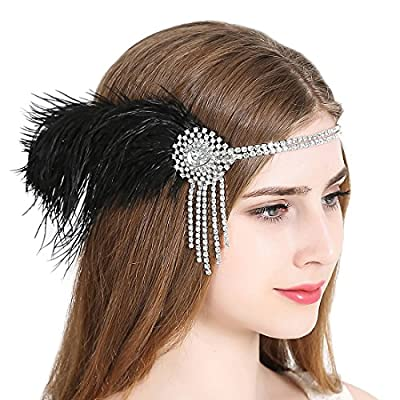 Vintage Flapper Headband 1920s Art Deco Gatsby Feather Headpiece