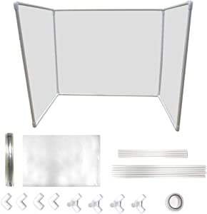 TJK Adjustable Sneeze Guard - Clear Screen Portable DIY Three Sides Personal Protection Shield - Acoustic Partition Thick Barrier Cubicle Pane for Offices Restaurant and Canteen 36x24inch