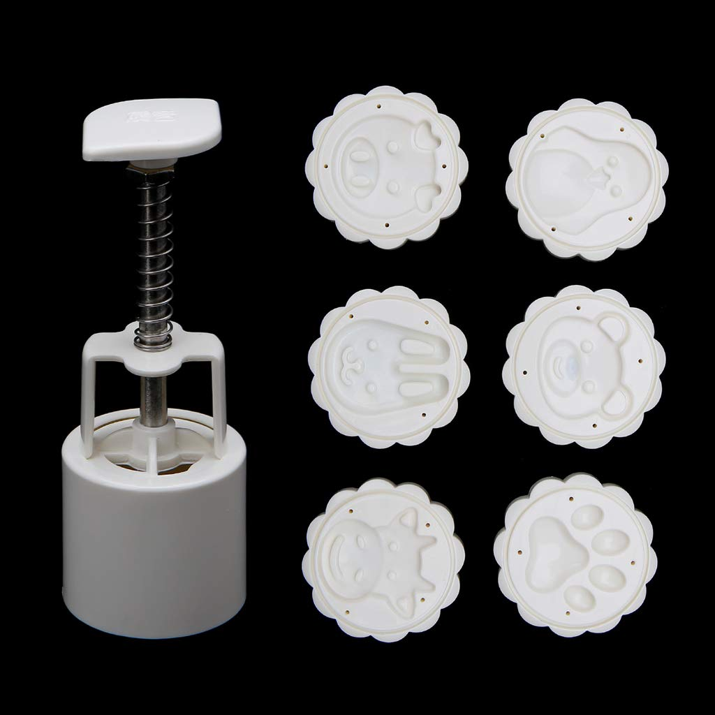 Padory 6 Animal Stamps Moon Cake Mould 3D DIY Round Mooncake Mold Baking Decor Tool 50g, Mid-Autumn Festival Tool