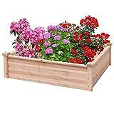 Giantex Raised Garden Bed Wood Outdoor Patio Vegetable Flower Rectangular Planter (Natural)