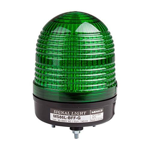 MS86L-FFF-G, Beacon Steady & Flash Light, 86mm Green Lens, Stud Mount, LED, 90-240V AC
