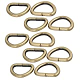 uxcell 25mm Inner Width Zinc Alloy Thickening Non Welded D Ring Bronze Tone 10pcs