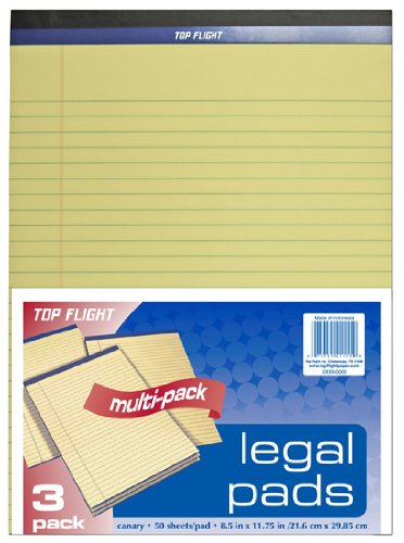 Three 50 Sheet Pads (Top Flight Legal Pad, 8.5 x 11.75 Inches, 0.375 Inch Rule, Canary, 50 Sheets per Pad, 3 Pads per Pack (4513108))