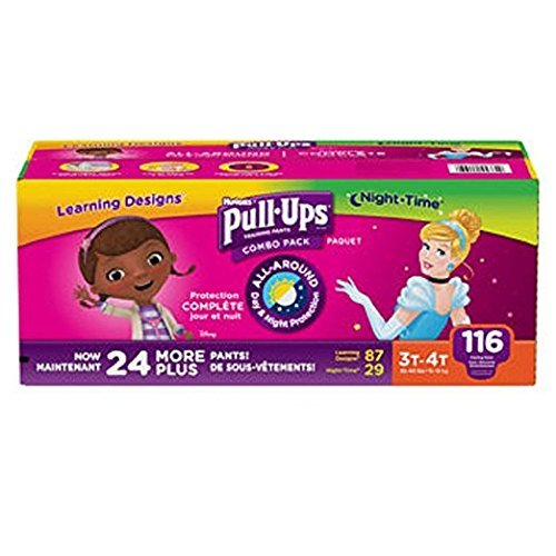 Huggies Pull-Ups Training Pants for Girls Day and Night Combo Pack Size: 3T-4T 116 ct