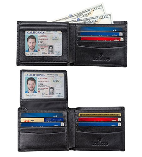 2 ID Window RFID Blocking Wallet for Men, Bifold Wallet, Sleek and Stylish Gift for Men, Multi Card Extra Capacity Travel Wallet (Large, Nappa Black-Smooth full grain leather) ()