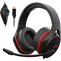 Xiberia V22 Gaming Headset for PC- Strong Bass Virtual 7.1 Sound- USB Headphones with Noise Cancelling Microphone RGB Lights Plug & Play for Laptops Computers