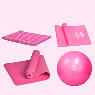 Élargissement 80TPE Yoga Tapis + égrenage Boutique Serviette +55 Ball + Rallye / Anti-éclatement Sports Ball Ballon de Livraison / Ball Physiothérapie (3 couleurs en option) ballon de fitness anti-
