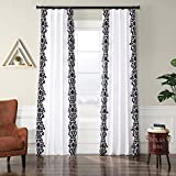 PTFFLK-C36A-84 Castle Flocked Faux Silk Curtain, White & Black, 50 x 84