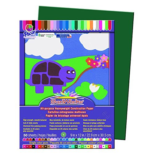 7803 Dark Green Pack of 50 Pacon Corp SunWorks Heavyweight Construction Paper 9 x 12 Inches