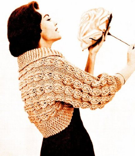Cable Bolero - Large Needle Mock Cable Bolero Shrug Knit Vintage Knitting Pattern