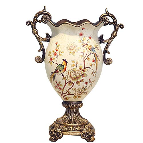 ZR-DECOR European-Style Retro Resin Large Flower Vases for Living Dining Room Table Centerpiece Bedroom Office Hotel Home Decoration Hand-Painted Tall Decorative Vase, (18 × 40× - Vase Bud Painted Hand