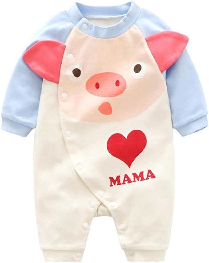 Love Pig Baby Girl Long Sleeve Infant Cotton Bodysuits