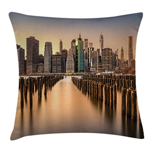 Scenery House Decor Throw Pillow Cushion Cover by Ambesonne, Long Exposure of the Manhattan Skyline and Brooklyn Pier Urban Life NYC, Decorative Square Accent Pillow Case, 16 X 16 Inches, Multi (Outdoor Shops Nyc)