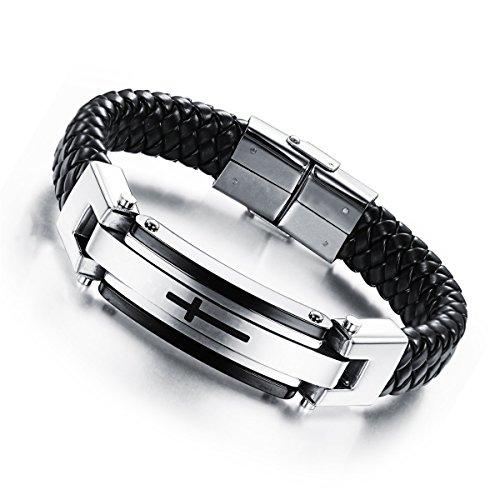 (Reizteko Cross Leather Bracelet Mens Stainless Steel Braided Cuff Bangle Wrist Band 8.66 inch (Black Silver))