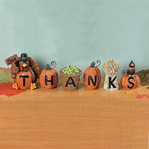 Fun Express - Resin give Thanks Blocks S/6 for Fall - Home Decor - Figurines - Molded - Fall - 6 -