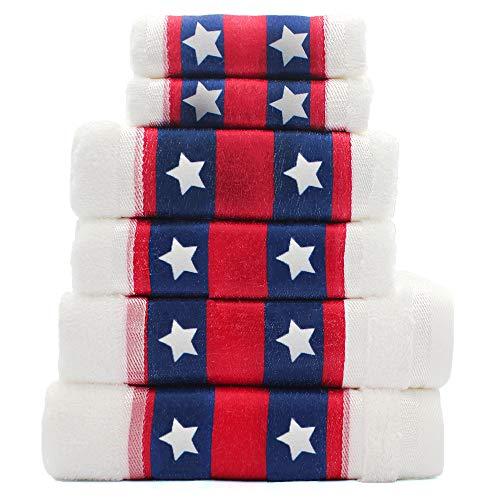 Cotton Bath Towels Set of 6-2 Bath Towels, 2 Hand Towels, 2 Washcloths Machine Washable Super Absorbent Hotel Spa Quality Luxury Towel Gift Sets Printed Towels Set - America, - Bears Towel Bath Care