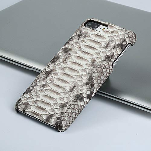 (Real Leather Python Phone Case for iPhone X XS XS Xs Max XR 6s 6 7 8 8 Plus Snake Skin Luxury Fashion Design Protective Cases (Silver, iPhone X))