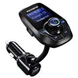 VicTsing FM Transmitter for Car, Bluetooth FM Transmitter Wireless Radio Adapter with 1.44'' Display and USB Charger, Car MP3 Player Support Micro SD Card AUX Input