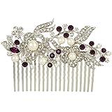 EVER FAITH Austrian Crystal Cream Simulated Pearl Flower Leaf Vine Hair Comb Purple Silver-Tone
