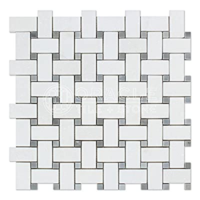 Thassos White Greek Marble Basketweave Mosaic Tile with Bardiglio Blue Gray Marble Dots, Honed