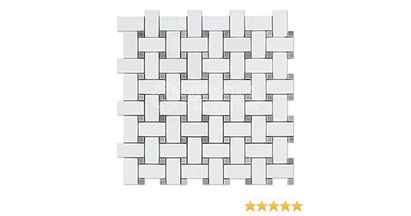 Thassos White Greek Marble Basketweave Mosaic Tile With Bardiglio Blue Gray Marble Dots Polished Amazon Com