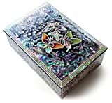 Jewelry Trinket Box Mother of Pearl Inlay Lacquered Butterflies Black #38