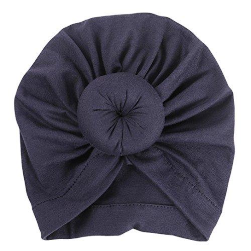 Newborn Baby Girl India Soft Tie Hat Cotton Turban Knot Cap Headwear Hats (Navy)