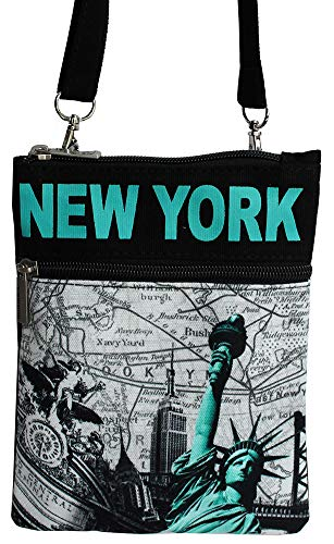 7aaa55c3c Robin Ruth Girl Women Statue of Liberty Skyline Messenger Cross Sling Small  Bag Black Teal