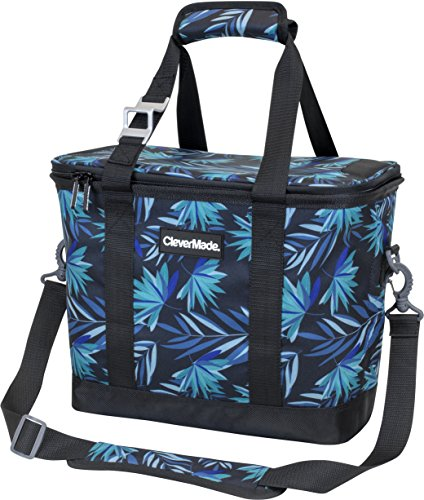 CleverMade SnapBasket 30 Can Soft-Sided Collapsible Cooler: 20 Liter Insulated Tote Bag with Shoulder Strap, Tropical