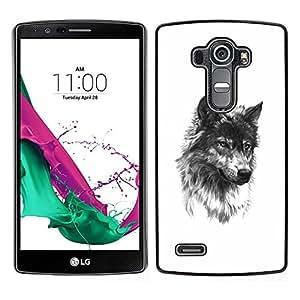 [Neutron-Star] Snap-on Series Teléfono Carcasa Funda Case Caso para LG G4 [Wolf Pet Dog Fang Black White Sketch]