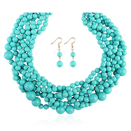 RIAH FASHION Braided Chunky Cluster Bead Bubble Statement Necklace - Multi Strand Twisted Colorful Twisted Ball Hammock Bib Collar (Twisted Bauble - Turquoise Mint)