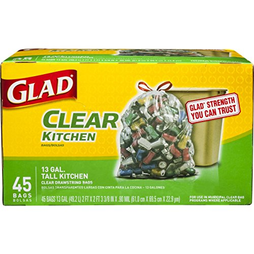 Gallon 45k (Glad Tall Kitchen Drawstring Clear Recycling Trash Bags, 13 Gallon, 45 Count)