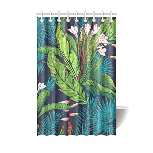 Delicate Shower Curtain Palm Tree And Banana Leaves Polyester Fabric Print Bathroom Bath 42 X72