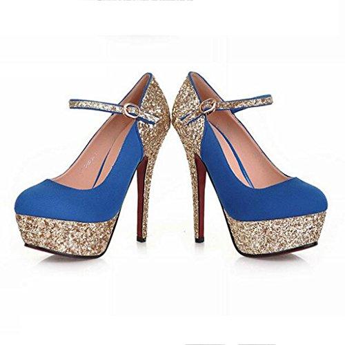W&LM Sra Tacones altos Ante Esto es bueno Plataforma a prueba de agua Hebilla Zapatos de boda Zapatos nupciales Boca rasa Zapatos individuales Blue