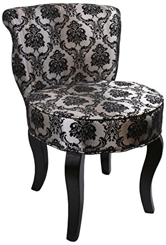 Ore International HB4539 31-Inch French Damask Accent Chair, Armless, Black/Grey