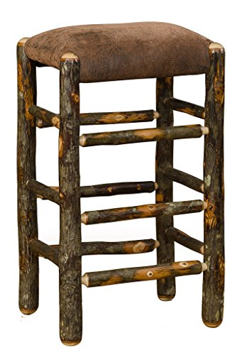Hickory Rustic Bar Stool - Furniture Barn USA Rustic Hickory Stool with Faux Brown Leather Padded Seat- 30