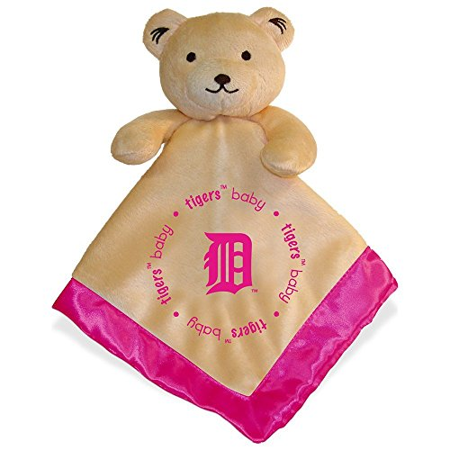 Detroit Tigers Pink Baby Security Snuggle Bear Blanket - 14