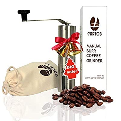 Cartos Manual Coffee Grinder - Portable Hand Grinder - Conical Burr Mill with PA 6 and Ceramic - Stainless Steel Design - Perfect for Traveling to brew PourOver, Drip, Chemex, Cold Brew, French Press