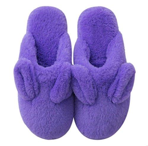 Cattior Womens Fleece Cute Bunny Slippers Fluffy Slippers Purple 2sPWdZXq