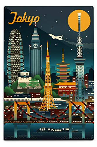 Lantern Press Tokyo, Japan - Retro Skyline (12x18 Aluminum Wall Sign, Wall Decor Ready to Hang)