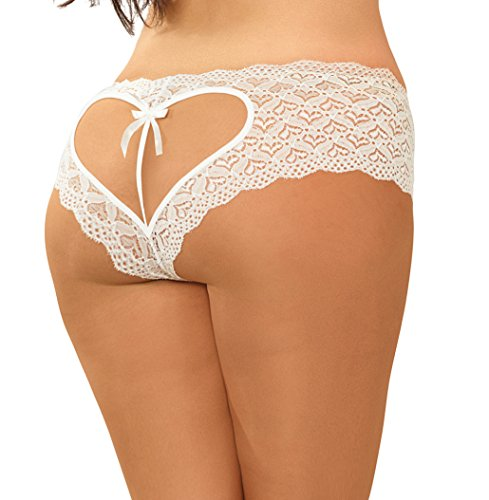 Lacy Line Sexy Open Heart Back Plus Size Open Crotch Bridal Panties (1X,White)