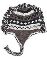 Grey Mohawk Hand-Knit 100% Wool Winter Hats with Fleece Lining