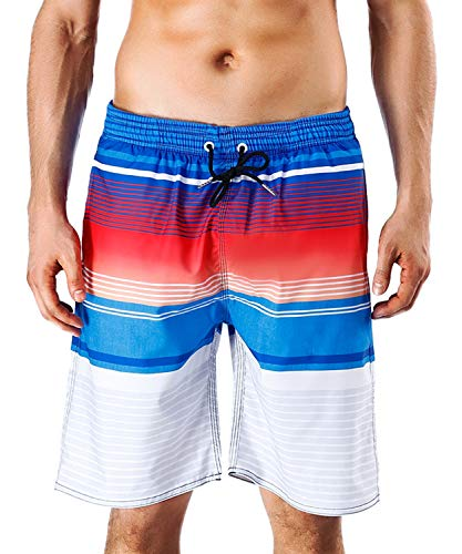 Milankerr Men's Swim Trunks Waterproof Quick Dry Beach Shorts Pockets Red Blue (Mens Swimwear Big And Tall)