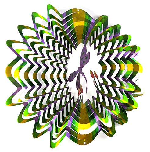 WorldaWhirl Whirligig 3D Wind Spinner Hand Painted Stainless Steel Twister Dragonfly (12