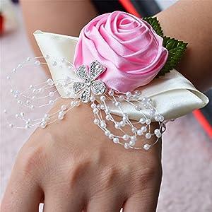 Jackcsale Wedding Bridal Corsage Bridesmaid Wrist Flower Corsage Flowers for Wedding Pink Pack of 4 14